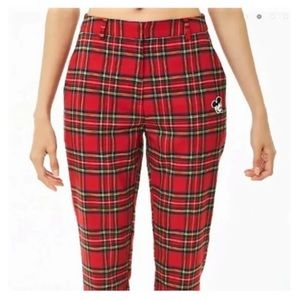 Forever 21 Pants & Jumpsuits - FOREVER 21 Women's Mickey Mouse Patch Plaid Pants